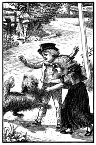 Victorian children greeting an excited dog