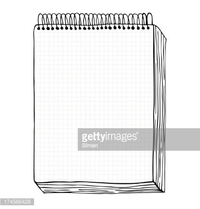Sketch of notebook illustration with hand drawn leaf
