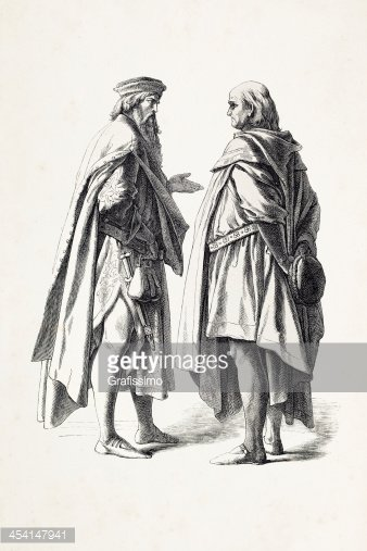 German Men Talking IN Traditional Clothing from 14th Century premium