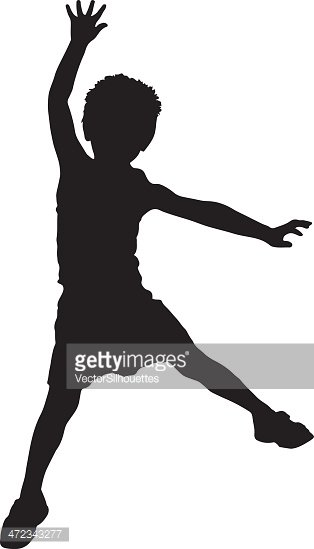 Silhouette of Child Jumping