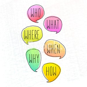 General Questions Written in Colored Doodle Speech Bubbles