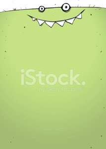 Full Page Green Goblin Monster Cartoon Illustration