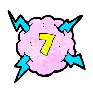 cartoon lightning storm cloud symbol with number seven
