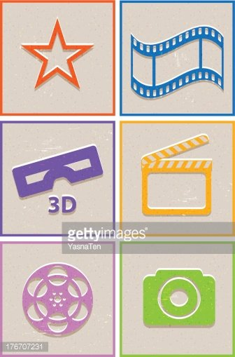 Flat paper cut cinema icons