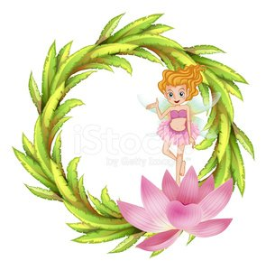 round border design with a fairy in pink dress