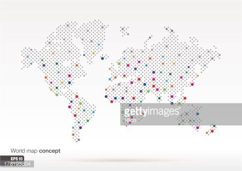 Stylized World Map concept with biggest cities. Clipart ...
