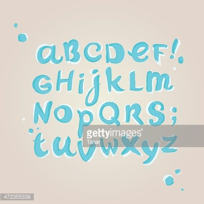 Stylized doodle turquoise decorative alphabet in watercolors