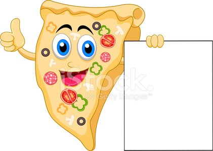 pizza cartoon character with blank sign