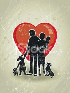 Family Love, Parents, Children Standing in Front a Giant Heart.