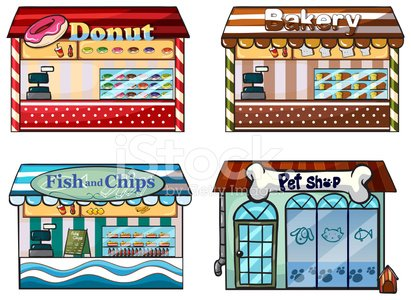 Donut, bakery, fish and chips store, pet shop