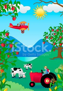 farm scene with tractor and cow