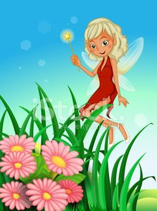 fairy holding a wand near the garden with flowers