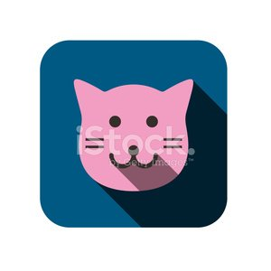 cat face flat icon design. Animal icons series.