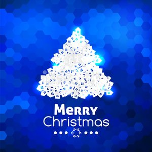 Merry Christmas card abstract blue background