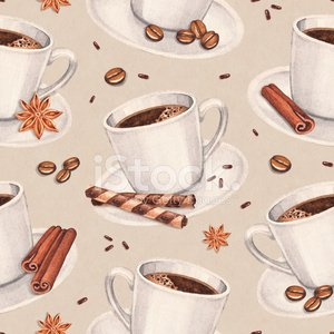 Watercolor illustrations of coffee cup