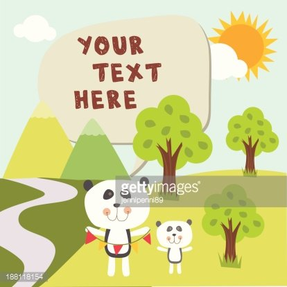 Cute panda daddy and son in forest with message box