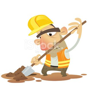 Under construction man working digging with a spade wearing helm