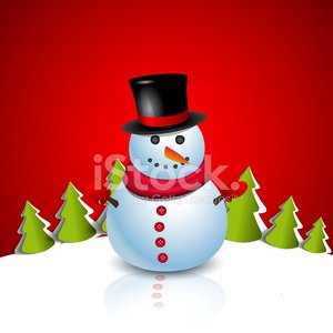 Christmas Greeting Card with snowman. Vector illustration