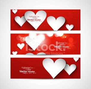 Beautiful Valentine's Day red colorful three header vector desig