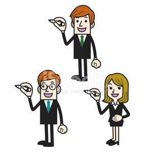 Business people pointing pen