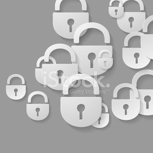 padlock, 3D style abstract of flat icons