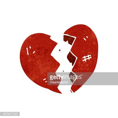 Retro Cartoon Broken Heart Symbol Premium Clipart Clipartlogo