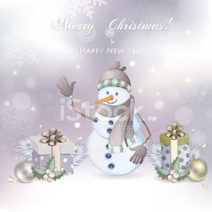 Christmas illustration with snowman