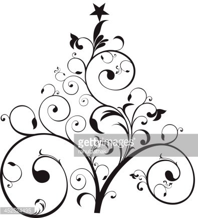 abstract artistic floral christmas tree