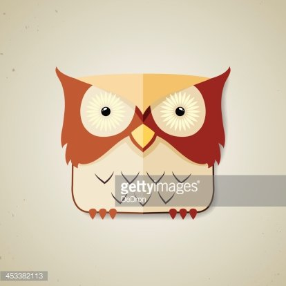 Cute little brown and light yellow cartoon owl