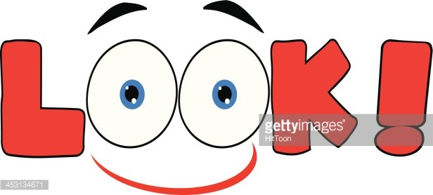 Red Cartoon Eyes Text Look With Smile Clipart Image