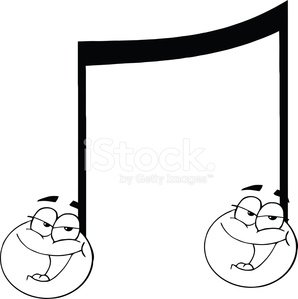 Black and White Double Music Note Singing