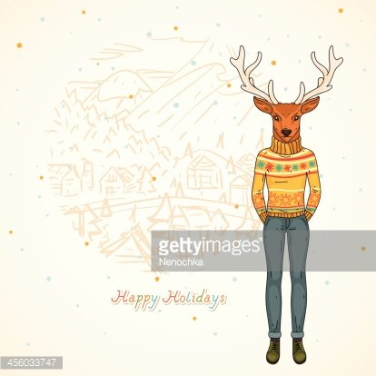Winter card, Fashion deer in the village