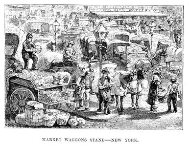 Market waggons stand, New York