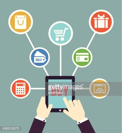 Internet shopping. Mobile order and payment. Flat style