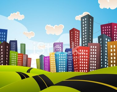 Downtown of City, Streets Full of Traffic and Cars - vector clipart