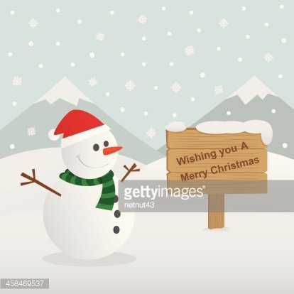 Merry christmas with snowman vector illustration
