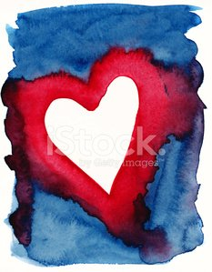 Blue Red Painted Heart