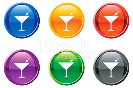 martini glass royalty free vector icon set