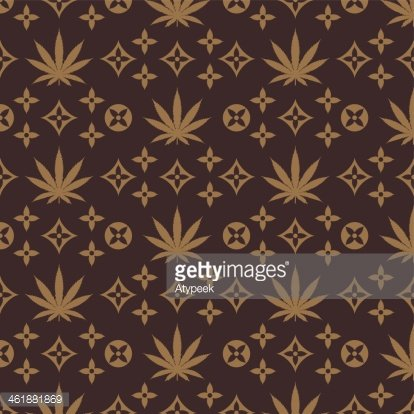 Weeds Pattern Vector. Cannabis golden leaf silhouette on Brown background.