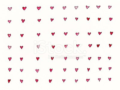 Many little red hand drawn hearts on white background