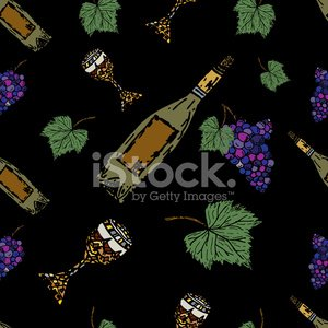 Repeating Seamless Wine Elements Random Pattern Design On Black