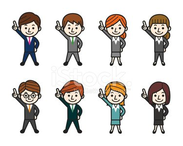 Business People Pointing Up