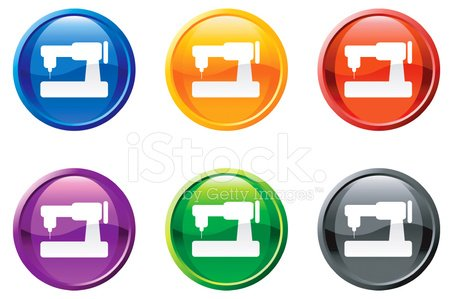 sewing machine royalty free vector icon set round buttons