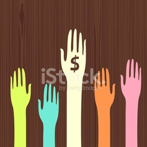 Dollar currency charity money hands illustration