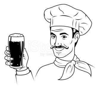 Vintage Chef with Beer