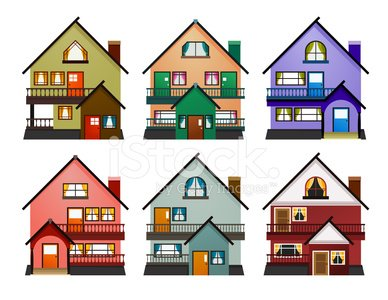 Front View Of Various Modern Houses Clipart Image