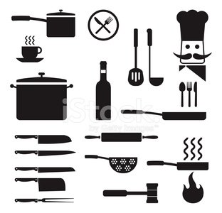 cooking utensils kitchen royalty free vector icon set