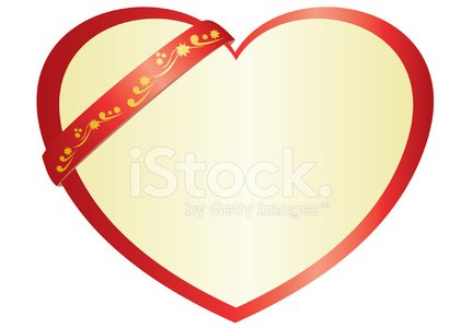 vector illustration of red heart with ribbon