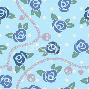 Seamless pattern with roses and chains. Blue back color.