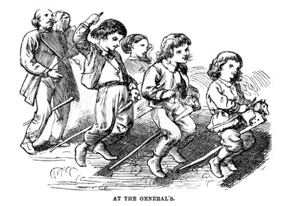 Victorian children playing at horse riding